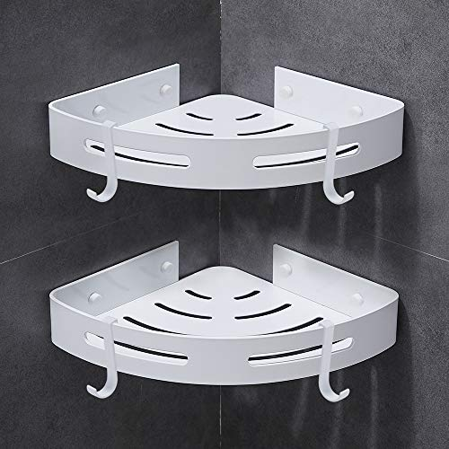 Gricol Bathroom Shower Shelves Corner Triangle Self Adhesive Wall Shower Caddy Wall Mount No Dri ...