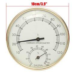 ZKG Stainless Steel Gold Edge Indoor Thermometer Hygrometer Hygro-Thermometer Sauna Room Accesso ...