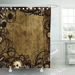 Emvency Shower Curtain Brown Industrial Steam Punk Style Vintage Victorian Waterproof Polyester  ...