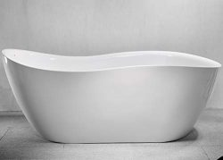 CRACCO SPA Acrylic Freestanding bathtub Soaking Bathtub, White Modern Stand Alone bathtub, Easy  ...