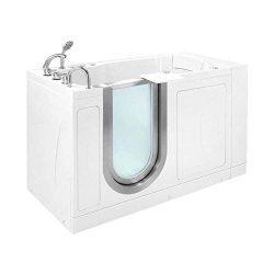Ella Petite 28″ x 52″ Hydro Massage Acrylic Walk-In Bathtub, Inward Swing Door,Therm ...