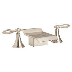Euro Modern 3pcs Brushed Nickel Waterfall Roman Bath Tub Sink Faucet Widespread