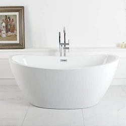 FerdY Acrylic Freestanding bathtub Soaking Bathtub, White Modern Stand Alone bathtub, Easy to In ...