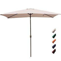 RUBEDER Rectangular Patio Umbrella – 6.6 by 10 Ft Outdoor Market Table Umbrellas with Push ...