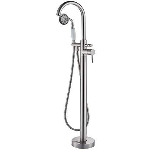 Senlesen Floor Mount Bathroom Freestanding Tub Faucets Single Handle Bathtub Mixer Tap with Hand ...