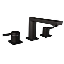 MR. FAUCET 3 Hole Basin Deck Mount Two-Handle Widespread Bathroom Sink/Bathtub Faucet, Matte Black