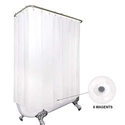 White All Around Shower Curtain 180 x 70 Inches with Magnets Clawfoot Tub PEVA Extra Wide Wrap A ...