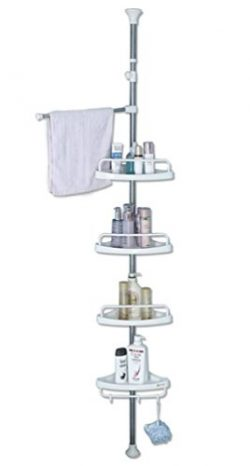 BAOYOUNI Bathroom Shower Corner Caddy Tension Pole, 4 Tier Bathtub Space Saving Storage Rack Org ...