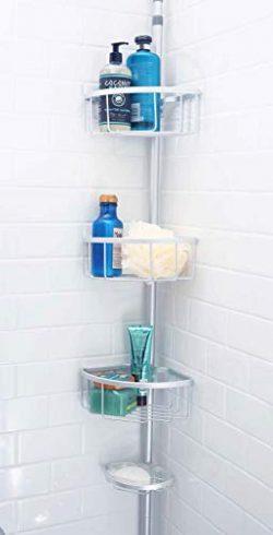 Inspired Living Shelf Organizer Rack: Rust-Proof Aluminum, Adjustable 6 to 8.75 Ft Ht in Matte S ...