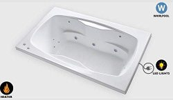 Carver Tubs – AR7242 Rectangle Drop In – 12 Jet,Whirlpool Bathtub with Led Lights an ...