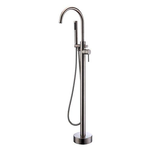 Artiqua Freestanding Tub Filler Bathtub Faucet Brushed Nickel Floor Mount Single Handle Brass Fa ...