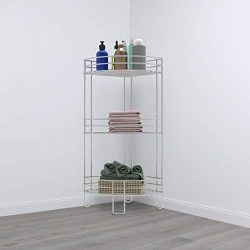 Lavish Home 83-136-3TIER Standing Corner Shelf-3 Tier Wire Storage Rack for Living Room, Bathroo ...
