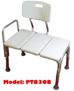 MedMobile® BATHTUB TRANSFER BENCH / BATH CHAIR WITH BACK, WIDE SEAT, ADJUSTABLE SEAT HEIGHT, SUR ...