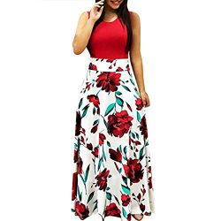 Pongfunsy Womens Summer Dress Women Striped Long Boho Dress Lady Beach Sundrss Maxi Dress 2019 B ...