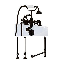 Classic Telephone Faucet Complete Deck Mount Plumbing Package for Clawfoot, Pedestal, and Freest ...