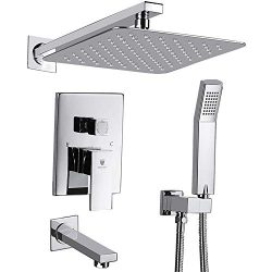 HIMK Shower System, Shower Faucet Set with Tub Spout and 10″ Rain Shower Head Wall Mounted ...