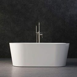 WOODBRIDGE B-0012 59″ Acrylic Freestanding Bathtub Contemporary Soaking Tub with Brushed N ...