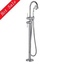 Votamuta Floor Mounted Bathroom Tub Filler Faucet with LED Light Spout Free Standing Bathtub Sho ...