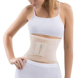 Slim Abs Sauna Waist Trainer Corset Vest – Slimming Neoprene Body Shaper for Women (Beige, L/XL)