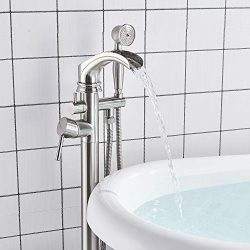 Senlesen Brushed Nickel Bathroom Single Handle Freestanding Bathtub Faucet Floor Mounted Waterfa ...