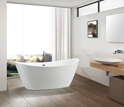 Vanity Art freestanding White Acrylic Bathtub with Polished Chrome Round Overflow and pop-up Drain.