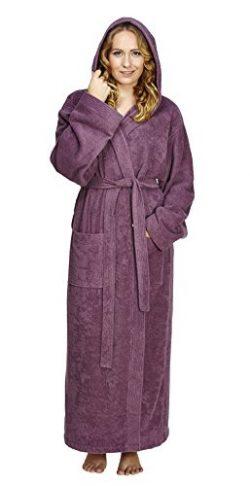 Arus Women's Pacific Style Full Length Hooded Turkish Cotton Bathrobe, XL, Plum
