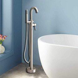 WOODBRIDGE Freestanding Tub Filler Bathtub Floor Mount Brass Bathroom Faucets with Hand Shower,  ...
