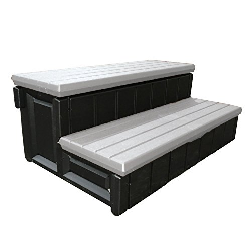 Confer Leisure Accents 36″ Long Deluxe Deck Patio Spa Hot Tub Steps, Gray and Black (2 Pack)
