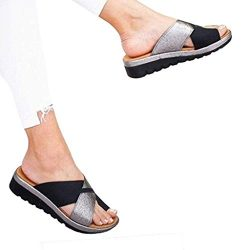 Women's Flats Wedges Platform Sandals Comfy Open Toe Beach Travel Shoes Heel Massage Soft  ...