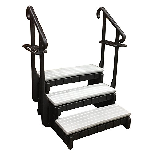 Confer Plastics Hot Tub Steps with Handrail Black Gray