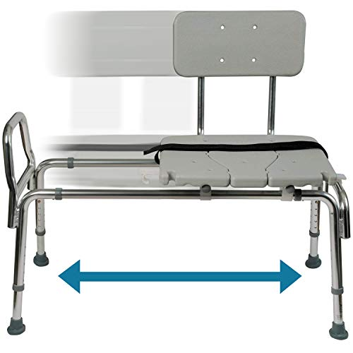 Tub Transfer Bench and Sliding Shower Chair Made of Heavy Duty Non Slip Aluminum Body and Plasti ...