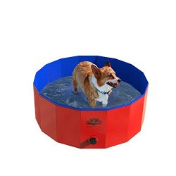 PETMAKER Pet Pool and Bathing Tub-Foldable with Carrying Bag Included, Travel Friendly Tub for B ...