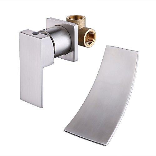KES Wall Mount Bathroom Faucet Waterfall Lavatory Sink Faucet Single Handle Lead-Free Brass Body ...