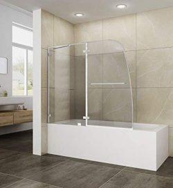 ELEGANT 48″ W x 58″ H Frameless Hinged Tub Shower Door, 5/16″ Clear Glass, Swi ...