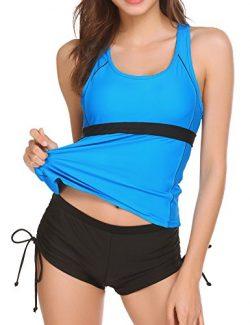 Ekouaer Pin up Padded Swimwear with Boyshorts Tankini Swimsuit for Women,Blue,Large