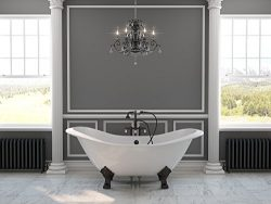 71″ Cast Iron Double Ended Slipper Tub with NO Faucet Holes & Oil Rubbed Bronze Feet-& ...
