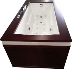 1 Person Bathtub Jetted Computerized Whirlpool, 6 Ft x 3 Ft, Hydrotherapy 17 Massage Jets, Built ...
