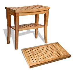 Bambusi Shower Stool Bench with Floor Mat – 100% Natural Bamboo Seat Bench & Shower Fl ...