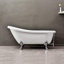 WOODBRIDGE 67″ x 30″ Slipper Clawfoot Bathtub with Solid Brass Polished Chrome Finis ...