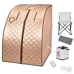 AMPERSAND SHOPS Portable Personal Spa Detox Sauna Kit Weight Loss Steamer Chair Remote Control H ...