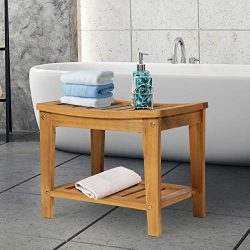 Festnight Bath Shower Bench Seat Stool Sturdy Bathroom Shower Bench with Shelf, Solid Acacia Wood