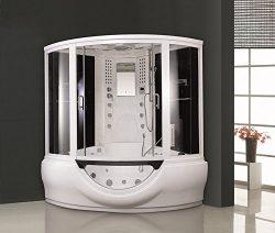Corner Steam Shower room with whirlpool tub