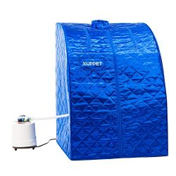 KUPPET Portable Folding Steam Sauna-2L One Person Home Sauna Spa for Full Body Slimming w/Chair, ...