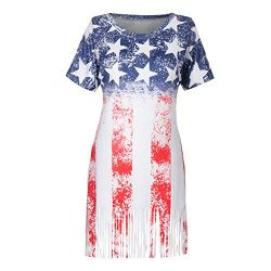 Bravetoshop Women Casual Oversized American Flag Print Off Shoulder T-Shirt Short Sleeve Tops(Red,L)