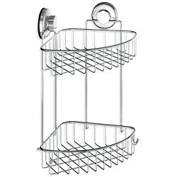 HASKO accessories – Suction Cup Corner Shower Caddy | 304 Stainless Steel Polished Chrome  ...