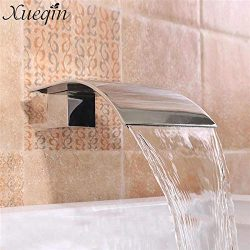 G1/239;39; Solid Brass Waterfall Square Basin Sink Faucet Wall Mounted Bathroom Silver Basin Fau ...
