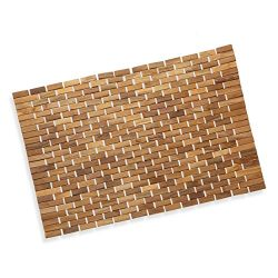 Precision Works Luxurious Bamboo Bath Mat for Shower, Bath, Spa Or Sauna 23×15 Medium Size