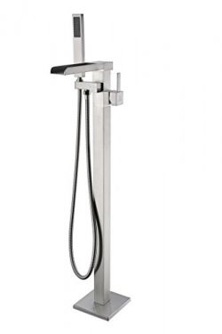ANZZI Union Floor Mounted Freestanding Bathtub Faucet in Brushed Nickel | Clawfoot Tub Faucet wi ...