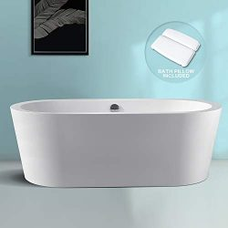 Freestanding Bathtub BATH MASTER Soaking Bathtub Acrylic Contemporary with Chrome Overflow and D ...