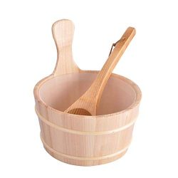 SUPVOX 2 Pcs Sauna Wooden Bucket Wooden Barrel Bathing Barrel Set for Sauna Room